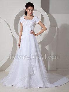 A-Line Ball Gown Princess Square Natural Waist Asymmetrical Waist Non-Strapless T-shirt Satin Organza Wedding Dress - US$ 299.99 - Style WD0319 - Helene Bridal