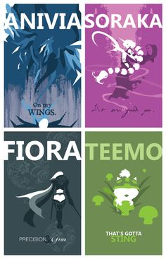 Set of Four League of Legends Champion Prints by pharafax on Etsy,