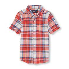 s Boys Short Sleeve Plaid Madras Button-Down Shirt - Orange - The Children's Place