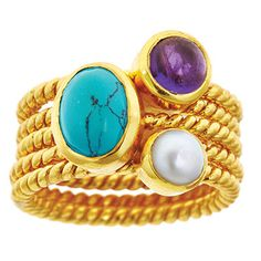 Turquoise with Amethyst and Pearl