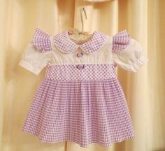 Vintage Baby Girl White and Lilac Lavender Purple Checked