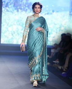 Debarun Azure Blue Tussar Embroidered Satin Saree