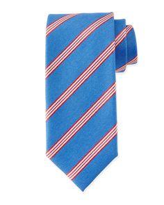 Textured Narrow-Stripe Silk Tie, Blue/Red, Men's - Massimo Bizzocchi