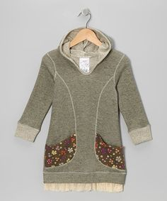 Olive Floral Pocket Hoodie Dress - Toddler & Girls. CUTE.