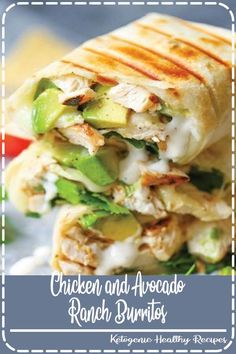 Chicken and Avocado Ranch Burritos – These come together with just 15 min prep! … Chicken and Avocado Ranch Burritos Think Food, I Love Food, Good Food, Yummy Food, Tasty, Awesome Food, Mexican Food Recipes, Dinner Recipes, Dinner Ideas Healthy