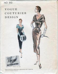 Vogue Couturier Design 810 Womens Shoulder Draped Cocktail Dress & Blouse 50s Vintage Sewing Pattern Size 14 Bust 32 UNUSED Factory Folded