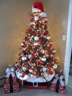 http://mosslounge.com/how-to-decorate-for-christmas/ How to Decorate for Christmas : Decoration Ideas Chic And Cool Red White Santa Hat In Top Of Xmas Tree And Awesome Red Present With White Ri...