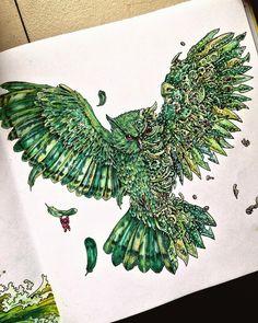Green colour palette: a page from the Imagimorphia colouring book #imagimorphia