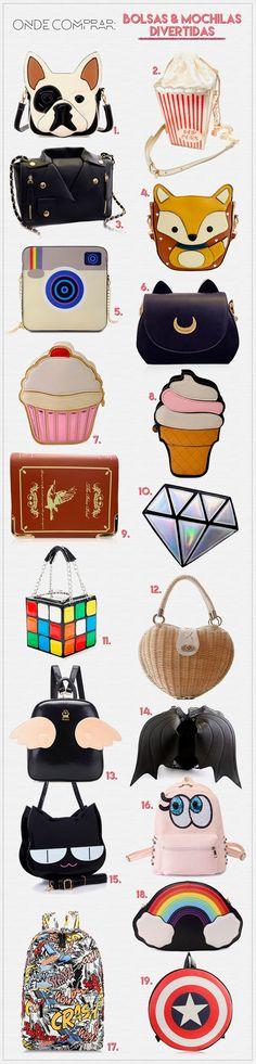 Onde comprar: Bolsas e mochilas divertidas e fofas!                                                                                                                                                     Mais