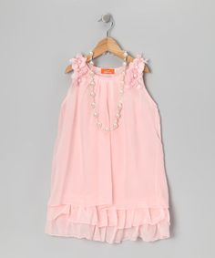 Take a look at this Pink Chiffon Dress & Pearl Necklace - Girls by Dolce Liya on #zulily today!