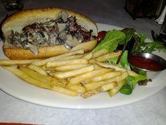 Blue cheese beef sandwich at Redlefsen's Restaurant, Bristol, RI