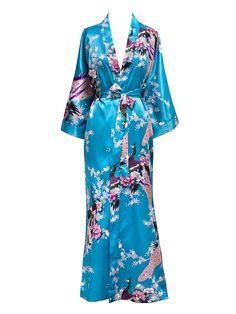 Plus Size XXXL Chinese Women Long Robe Print Flower Peacock Kimono . Plus Size plus size kimono robe Yukata, Sleepwear Women, Pajamas Women, Long Kimono Cardigan, Plus Size Kimono, Bridal Robes, Sexy, Gowns, Blossoms