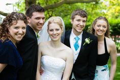 The bride and groom with his siblings.