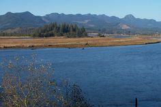 Downtown Wheeler view of Nehalem Bay and Coast Range. Oregon.