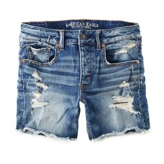 AEO Destroyed Tomgirl Midi Short ($30) ❤ liked on Polyvore featuring shorts, bottoms, pants, distressed shorts, short shorts, american eagle outfitters shorts, ripped shorts and torn shorts