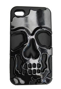 Inked Black Metallic Skull iPhone Case - Love it! $19.95