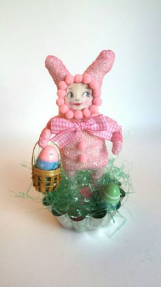 Spun Cotton Easter Bunny by AquaMarineQueen on Etsy