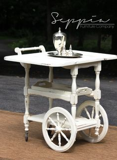 <bar cart> French Country Tea Cart by SeppiaFurniture on Etsy Victorian Furniture, Shabby Chic Furniture, Vintage Furniture, Furniture Decor, Tea Trolley, Tea Cart, Drinks Trolley, Painted Chairs, French Country House