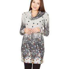 Grey fox print floral tunic dress