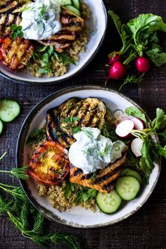 Grilled Salmon Tzatziki Bowls - Grilled Salmon Tzatziki Bowl- a fast and delici. Grilled Salmon Tzatziki Bowls - Grilled Salmon Tzatziki Bowl- a fast and delicious weeknight meal loaded up with healthy veggies! Salmon Recipes, Fish Recipes, Seafood Recipes, Dinner Recipes, Dinner Ideas, Tilapia Recipes, Dessert Recipes, Cod Recipes, Avocado Recipes