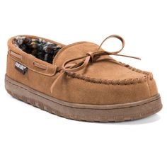 a749c5646ebc Say goodbye to worktime stress and hello to the Men s Muk Luks Berber Suede  Moccasin Slippers