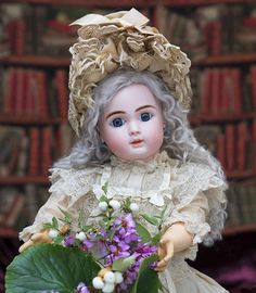 "22"" (56 cm) Antique French Pretty Wide-Eyed Bebe Doll by Steiner, Bisque marked Figure A 15, closed mouth, wonderful costume, in excellent condition!"