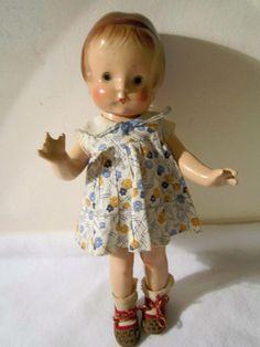 "Vintage Effanbee F & B Patsy Jr Patsykins 11"" Composition Doll  German Shoes"