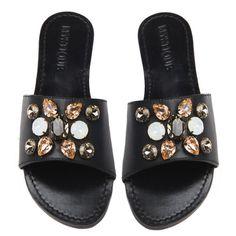 b76b13e2da2c5d MYSTIQUE Jeweled Rhinestone Crystal CANCUN Black Leather Sandals Slides NEW  7  fashion  clothing