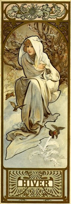 This piece of art is by Alphonse Mucha and it was finished in 1897 and it is a product of Art Nouveau. It has free flowing lines and it really catches the eye of any person. It is called 'The Seasons' as it is done in the season of winter. The woman in the picture stands out as the outline of her body is made thicker out to make her be the main thing in the picture.