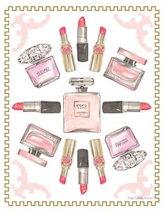 Lipstick and Perfume Art Print