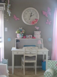 Pottery Barn Kids desk.  Old garage sale chair that I painted and added new seat. I found the hutch in the trash. Perfect homework spot.