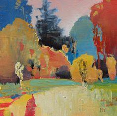 A Corner of the Park  oil on panel 6x6  Randall David Tipton