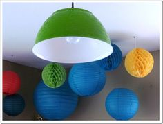 Plastic bowl lampshade idea. The original site seems defunct so I went to the Wayback Machine to find the details.  http://www.abernathycrafts.com/2012/06/diy-decorating-thinking-outside-box.html