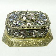 Antique Silver Gilt Casket with Enamel and Pearls 1840 stock id 7840 #Unknown