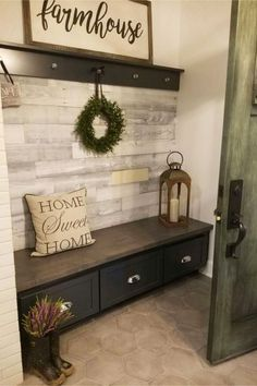 mudroom ideas - easy DIY mudroom ideas - simple mud rooms ideas for entryway way, laundry, entrance off porches and more mudroom ideas decor with bench Mudroom Ideas - DIY Rustic Farmhouse Mudroom Decor, Storage and Mud Room Designs We Love - Involvery Entryway Closet, Rustic Entryway, Entryway Ideas Shoe Storage, Small Entryway Decor, Kitchen Entryway Ideas, Small Mudroom Ideas, Entryway Coat Hooks, Rustic Closet, Entryway Shoe Storage