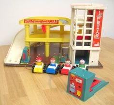Vintage Fisher Price Garage Set  Complete by toysofthepast on Etsy, $65.00