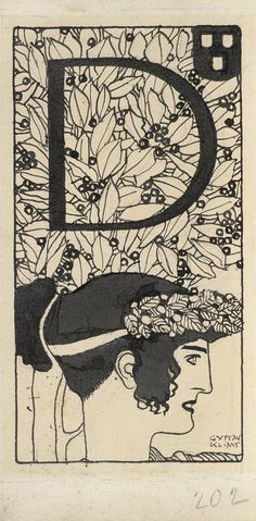 413fa444-d8b7-404f-89fd-49e2a1e3cbc3.jpg Густав Климт. Инициал «D», иллюстрация для журнала Ver Sacrum. 1897/1898. Перо и кисть тушью
