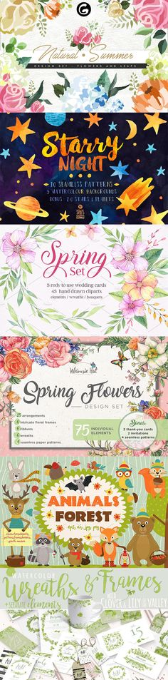 The best new floral, star and animal illustrations on Creative Market