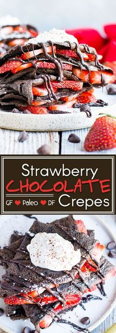 Paleo Chocolate Crepes with Strawberries   Paleo chocolate crepes are loaded with fresh strawberries and topped with homemade coconut whipped cream for a decadent breakfast treat your Valentine will love! Gluten-free and grain-free crepes make an excellent healthy breakfast option that is kid-friendly!