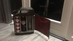 Upcycled dutch army fuel can/jerry can mini bar