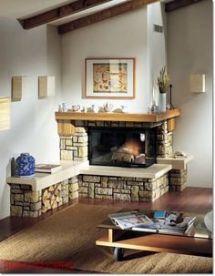 Living Room With Fireplace - Once a requirement for survival, a fireplace is currently an attractive component that could add major design (and also additional heat) to a living room. A fireplace . Corner Gas Fireplace, Cozy Fireplace, Living Room With Fireplace, Fireplace Design, Fireplace Ideas, Sage Living Room, Living Rooms, Cozy Corner, Small Corner