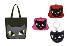 Kooky Cat Tote, Coin Purses, and Keychain by Lulu Guinness