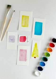 Make watercolor indent designs with the back of your brush!