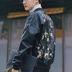 Fashion flower Embroidered bomber jacket for men black PU jacket coats