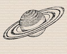 Vintage Planet Clip Art - Saturn Clip Art - Planet Illustration - Saturn Digital Stamp - solar system - instant download - commercial use
