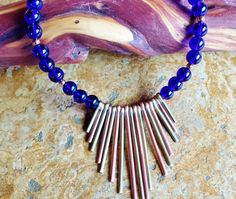 $45 ~ Royal Blue Egyptian Revival Statement Necklace ~ Bib, Metal Fringe Necklace ~ Best Unique Jewelry Gift For Mom, Sister, Auntie ~ Use discount code PIN10 for 10% off in my Etsy shop