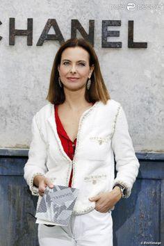 """Carole Bouquet - Photocall du défilé de mode Haute Couture automne-hiver 2013-2014 de """"Chanel"""" au Grand Palais à Paris. Le 2 juillet 2013."""