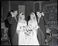 Original caption:Twins getting married to twins. Twin sisters are Joy and Gloria Marerum of Morristown, NJ. Twin brothers are George and William Smith Jr. of Morris Plains, Vintage Wedding Photography, Vintage Wedding Photos, Vintage Bridal, Wedding Pics, Wedding Couples, Wedding Bride, Wedding Styles, Vintage Weddings, Bridal Wedding Dresses