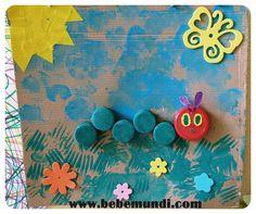 Una pequeña oruga glotona reciclando tapones - El paso a paso lo podéis encontrar en http://www.bebemundi.com/manualidades-ninos/pequena-oruga-glotona-reciclando-tapones/