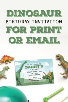 Having a last minute party? No need to print these modern dinosaur invites! Just have them personalized and email them out for a quick and easy invitation.